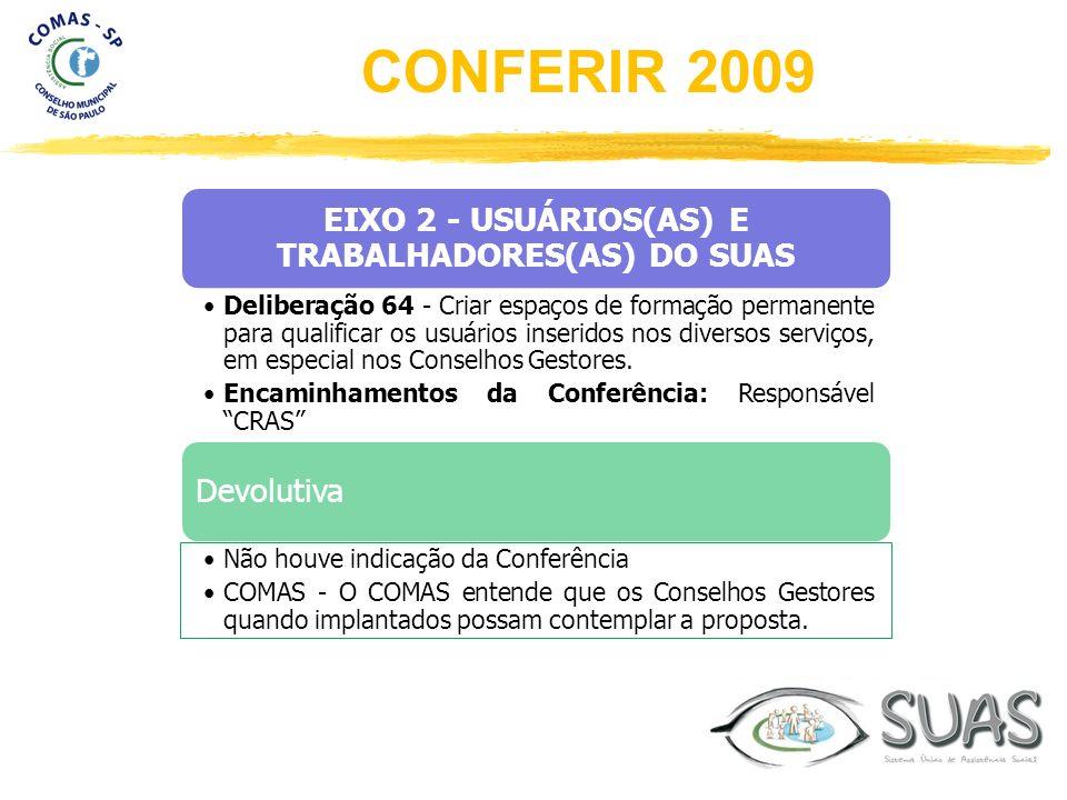 EIXO 2 - USUÁRIOS(AS) E TRABALHADORES(AS) DO SUAS Deliberação 64 - Criar espaços de formação permanente para qualificar os usuários inseridos nos dive