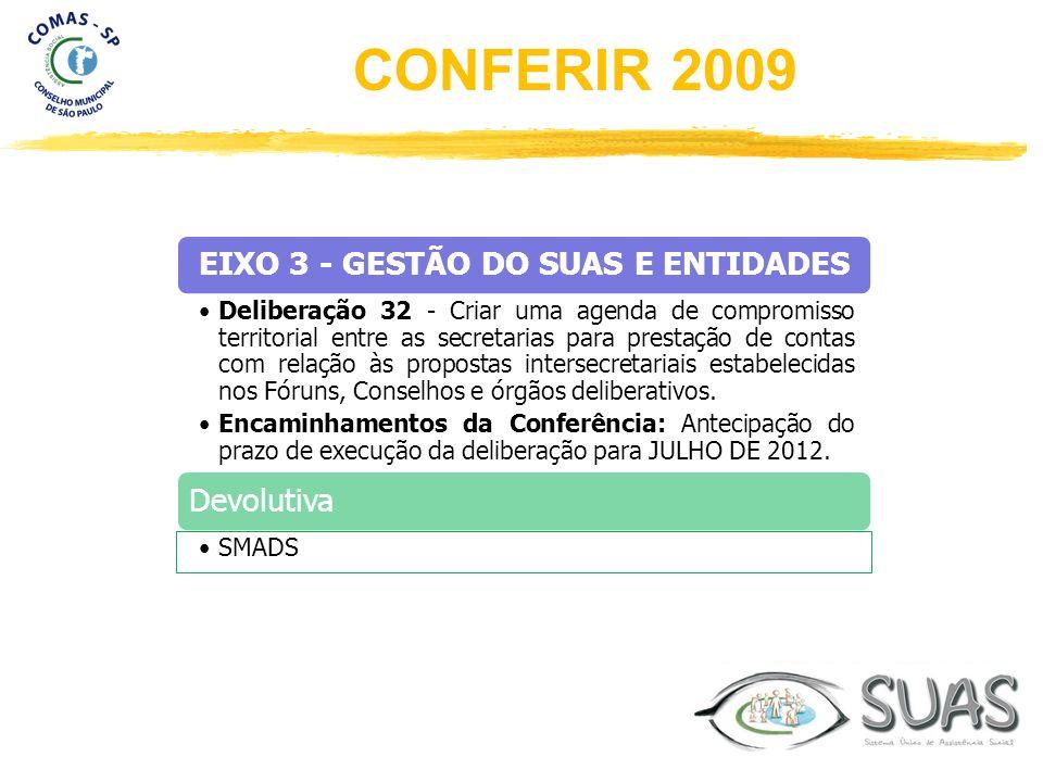 EIXO 3 - GESTÃO DO SUAS E ENTIDADES Deliberação 32 - Criar uma agenda de compromisso territorial entre as secretarias para prestação de contas com rel