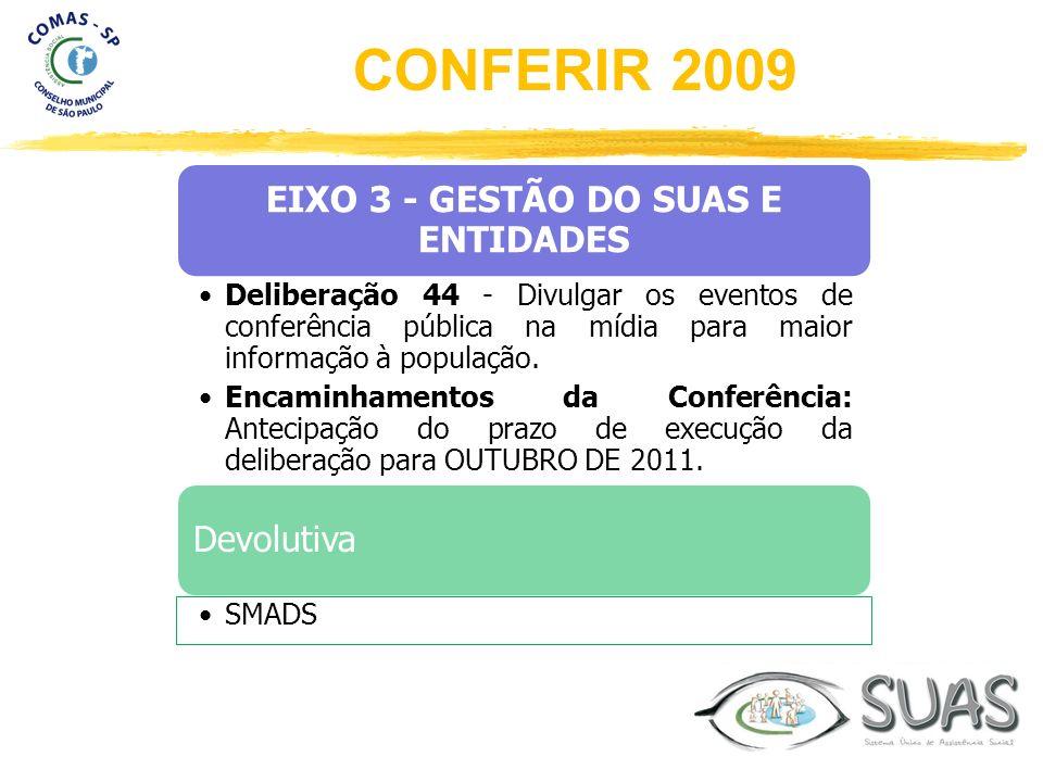 EIXO 3 - GESTÃO DO SUAS E ENTIDADES Deliberação 44 - Divulgar os eventos de conferência pública na mídia para maior informação à população. Encaminham