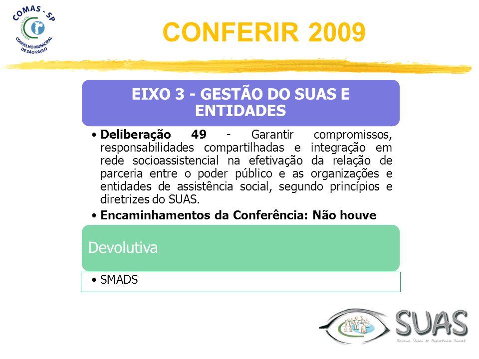 EIXO 3 - GESTÃO DO SUAS E ENTIDADES Deliberação 49 - Garantir compromissos, responsabilidades compartilhadas e integração em rede socioassistencial na