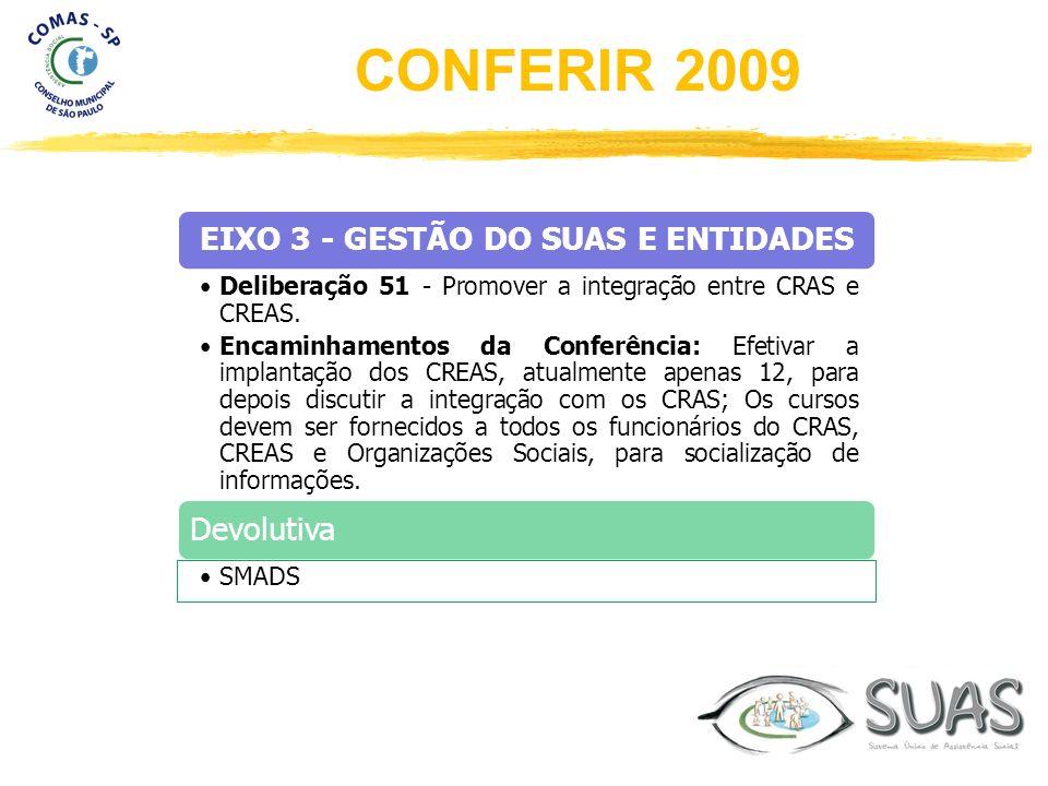 EIXO 3 - GESTÃO DO SUAS E ENTIDADES Deliberação 51 - Promover a integração entre CRAS e CREAS. Encaminhamentos da Conferência: Efetivar a implantação