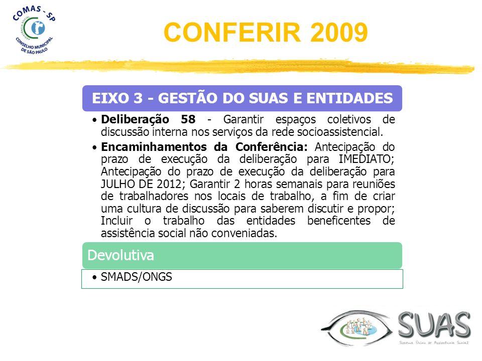 EIXO 3 - GESTÃO DO SUAS E ENTIDADES Deliberação 58 - Garantir espaços coletivos de discussão interna nos serviços da rede socioassistencial. Encaminha