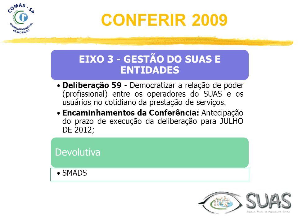 EIXO 3 - GESTÃO DO SUAS E ENTIDADES Deliberação 59 - Democratizar a relação de poder (profissional) entre os operadores do SUAS e os usuários no cotid