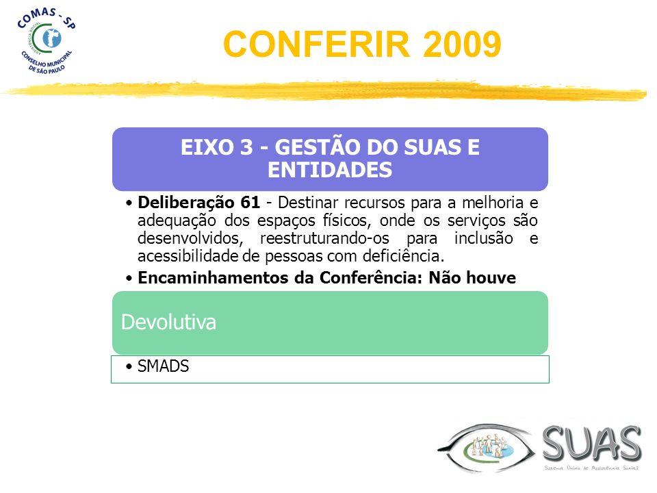 EIXO 3 - GESTÃO DO SUAS E ENTIDADES Deliberação 61 - Destinar recursos para a melhoria e adequação dos espaços físicos, onde os serviços são desenvolv