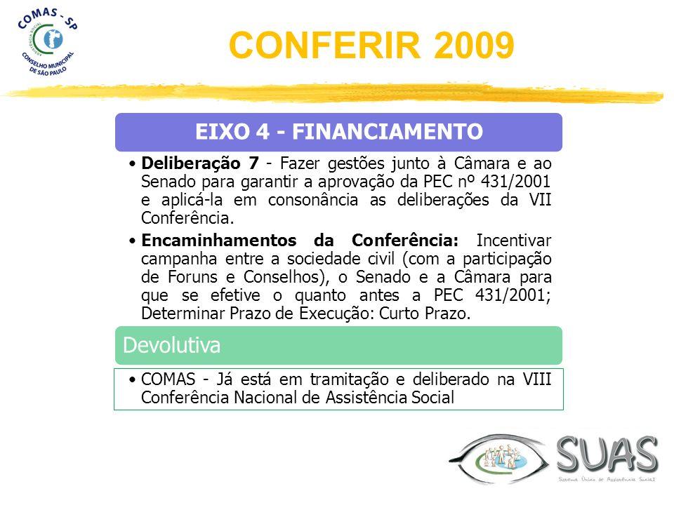 EIXO 4 - FINANCIAMENTO Deliberação 7 - Fazer gestões junto à Câmara e ao Senado para garantir a aprovação da PEC nº 431/2001 e aplicá-la em consonânci