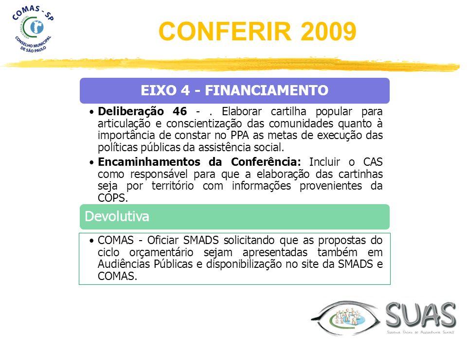 EIXO 4 - FINANCIAMENTO Deliberação 46 -. Elaborar cartilha popular para articulação e conscientização das comunidades quanto à importância de constar