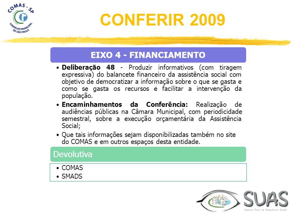 EIXO 4 - FINANCIAMENTO Deliberação 48 - Produzir informativos (com tiragem expressiva) do balancete financeiro da assistência social com objetivo de d