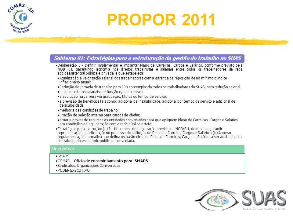 Subtema 01: Estratégias para a estruturação da gestão do trabalho no SUAS Deliberação 6 - Definir, implementar e implantar Plano de Carreiras, Cargos