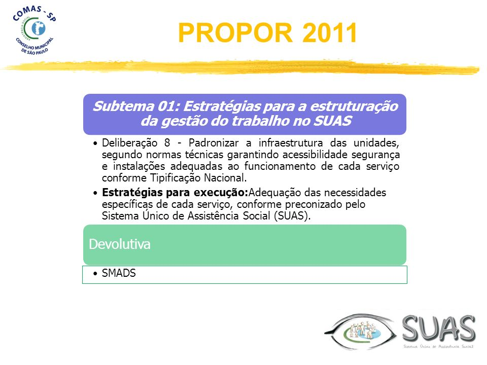 Subtema 01: Estratégias para a estruturação da gestão do trabalho no SUAS Deliberação 8 - Padronizar a infraestrutura das unidades, segundo normas téc