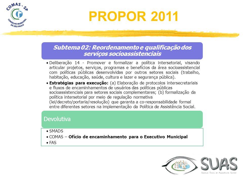 Subtema 02: Reordenamento e qualificação dos serviços socioassistenciais Deliberação 14 - Promover e formalizar a política intersetorial, visando arti