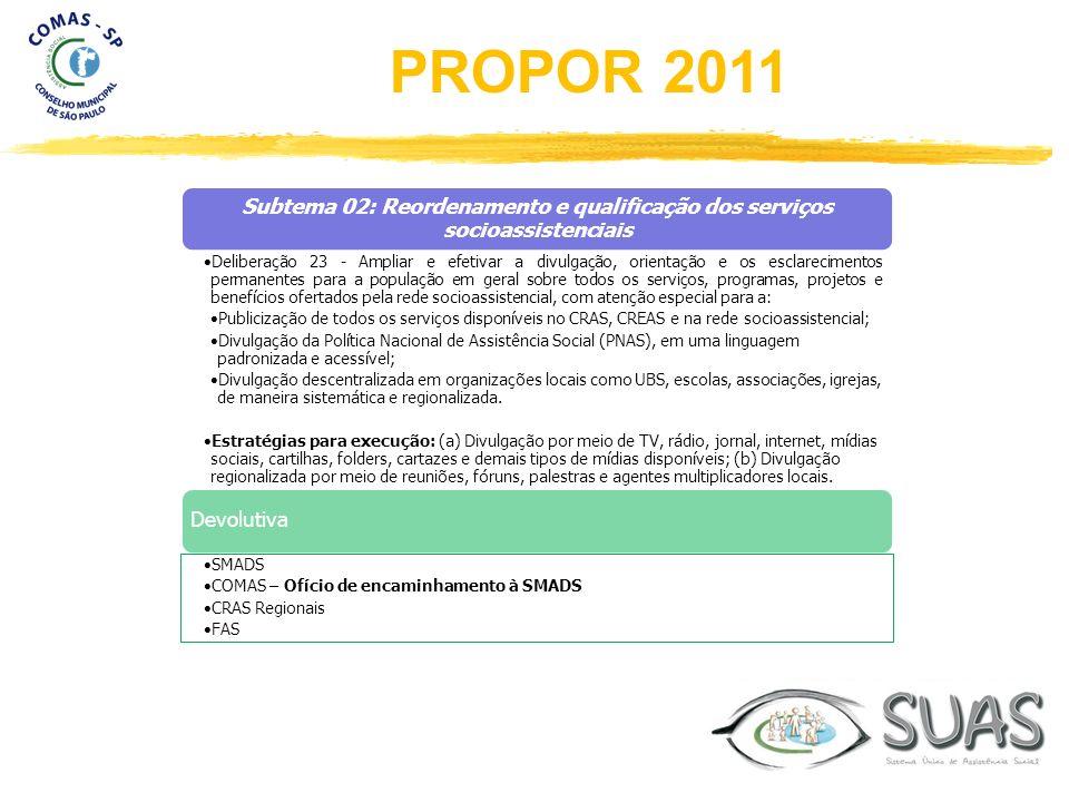 Subtema 02: Reordenamento e qualificação dos serviços socioassistenciais Deliberação 23 - Ampliar e efetivar a divulgação, orientação e os esclarecime