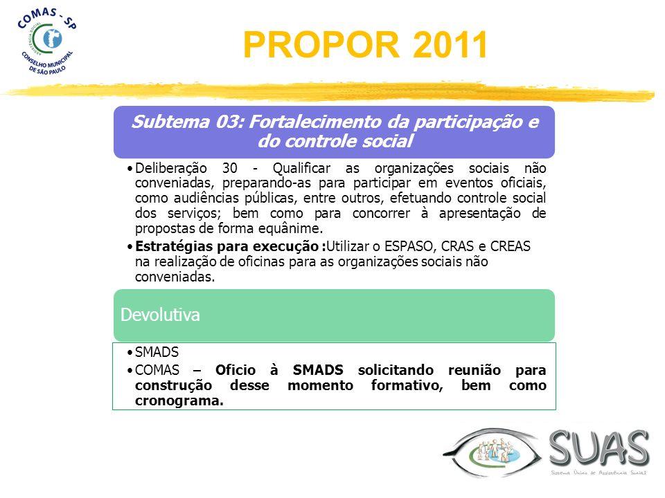 Subtema 03: Fortalecimento da participação e do controle social Deliberação 30 - Qualificar as organizações sociais não conveniadas, preparando-as par
