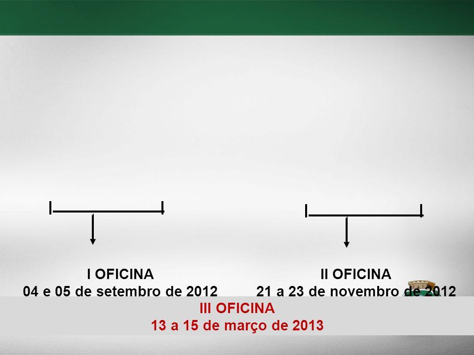 I OFICINA 04 e 05 de setembro de 2012 II OFICINA 21 a 23 de novembro de 2012 III OFICINA 13 a 15 de março de 2013