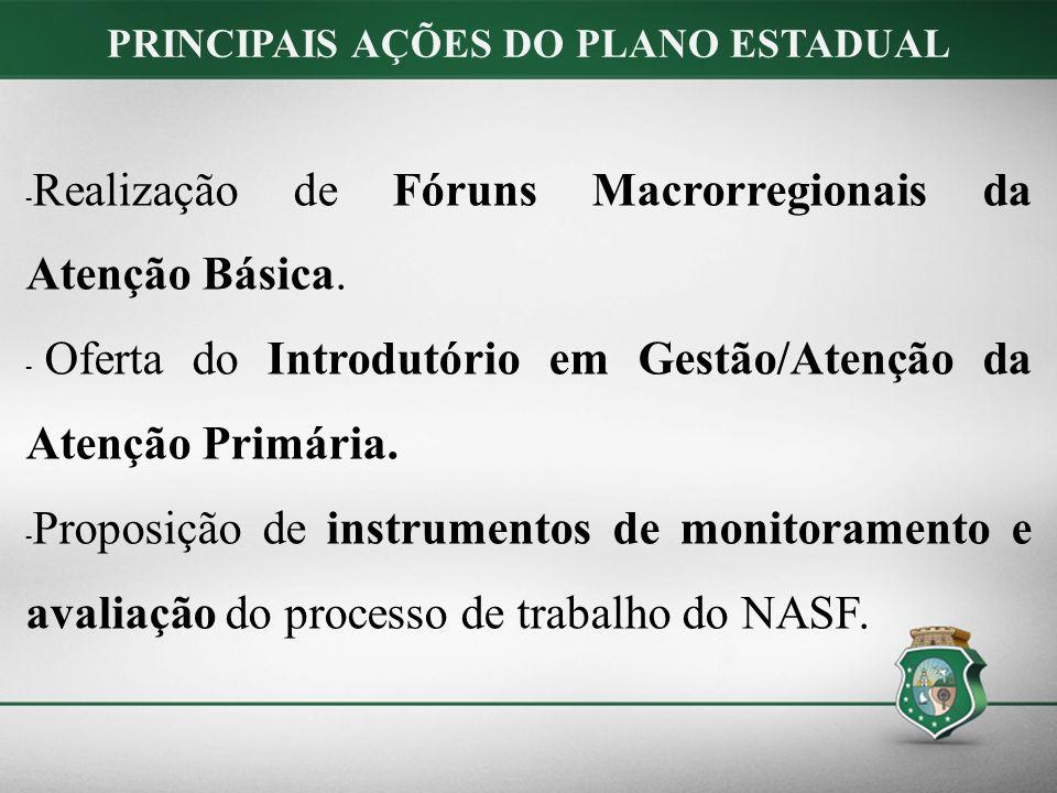 - Realização de Fóruns Macrorregionais da Atenção Básica.