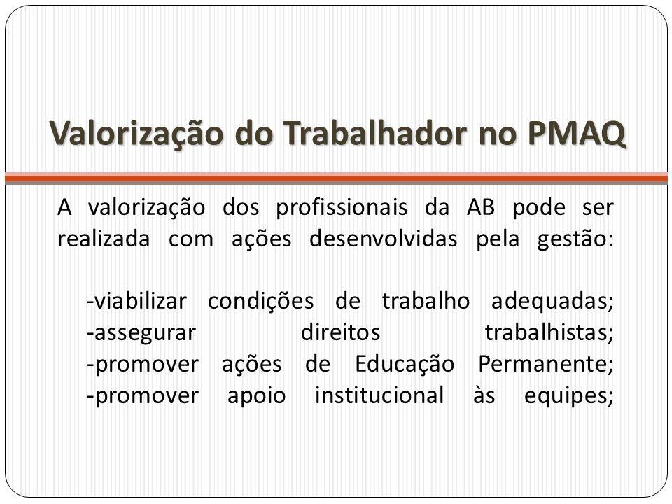 A valorização dos profissionais da AB pode ser realizada com ações desenvolvidas pela gestão: -viabilizar condições de trabalho adequadas; -assegurar