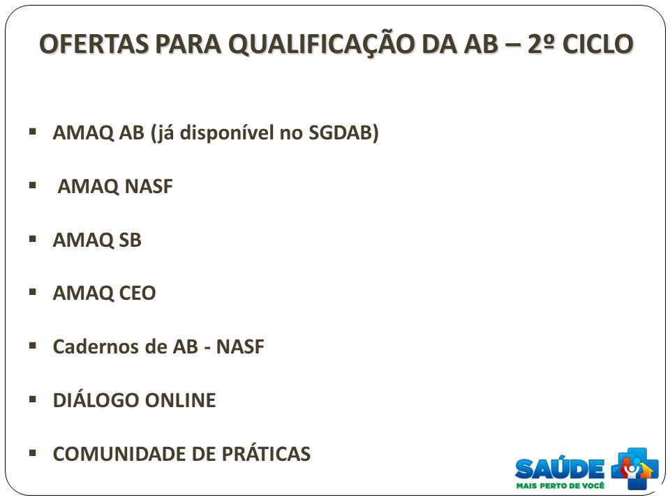 OFERTAS PARA QUALIFICAÇÃO DA AB – 2º CICLO AMAQ AB (já disponível no SGDAB) AMAQ NASF AMAQ SB AMAQ CEO Cadernos de AB - NASF DIÁLOGO ONLINE COMUNIDADE