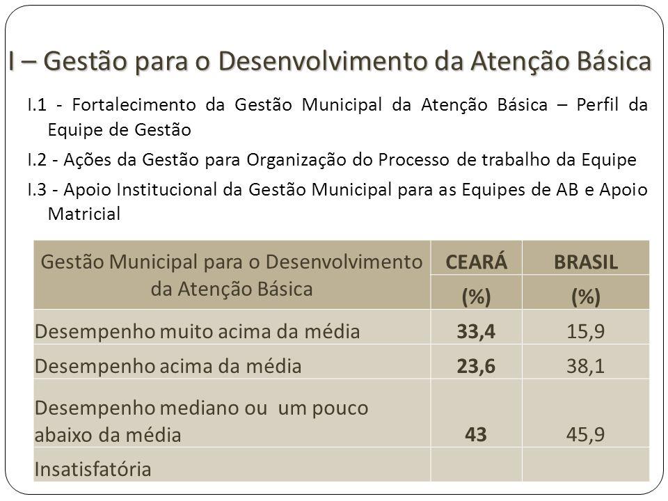 I – Gestão para o Desenvolvimento da Atenção Básica I.1 - Fortalecimento da Gestão Municipal da Atenção Básica – Perfil da Equipe de Gestão I.2 - Açõe
