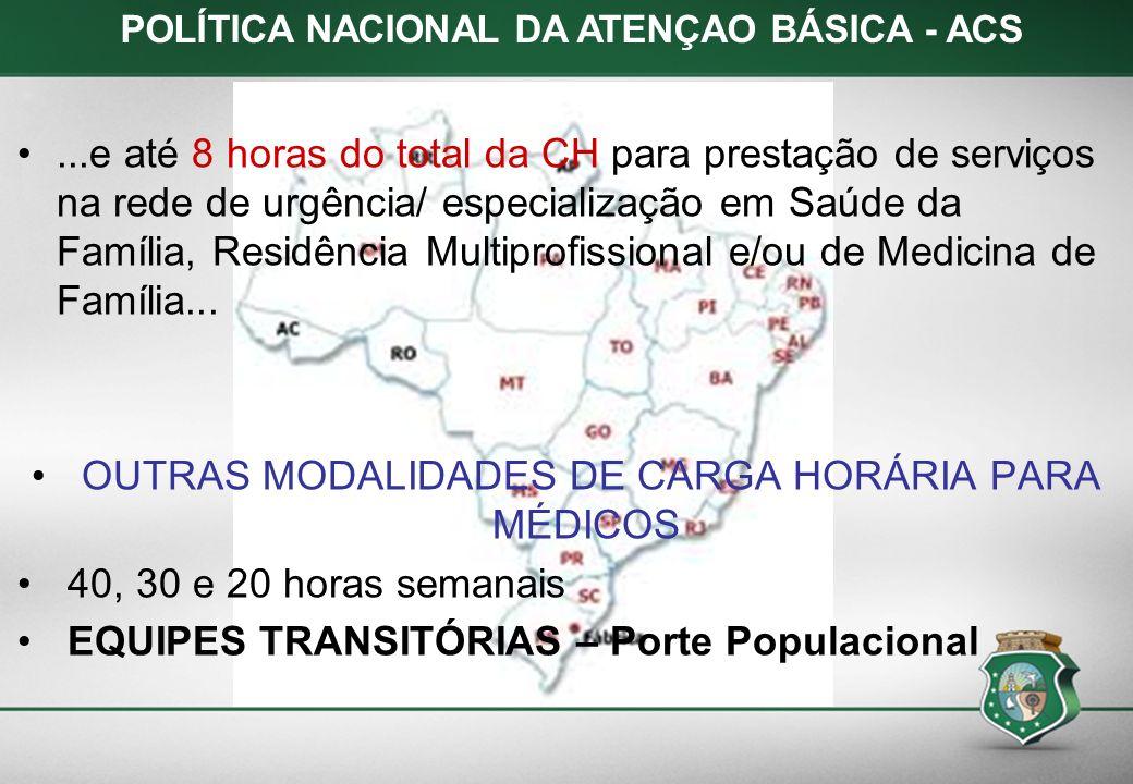 POLÍTICA NACIONAL DA ATENÇAO BÁSICA - ACS...e até 8 horas do total da CH para prestação de serviços na rede de urgência/ especialização em Saúde da Fa