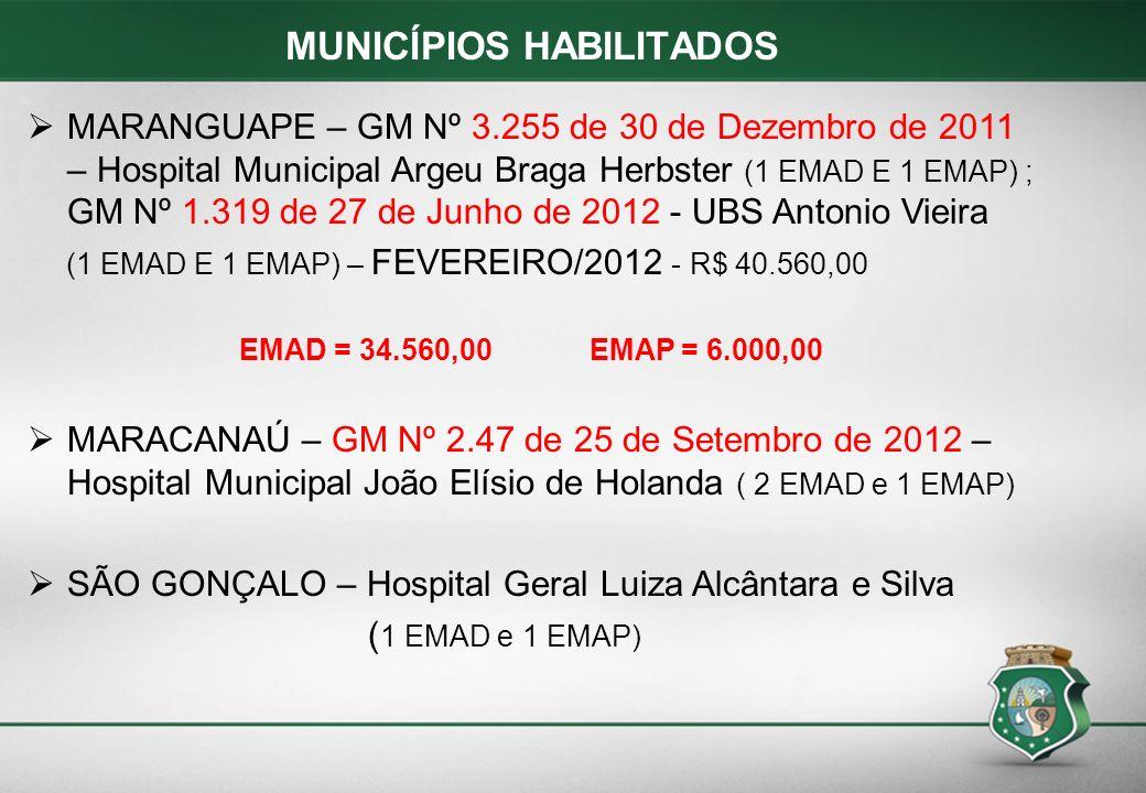 MARANGUAPE – GM Nº 3.255 de 30 de Dezembro de 2011 – Hospital Municipal Argeu Braga Herbster (1 EMAD E 1 EMAP) ; GM Nº 1.319 de 27 de Junho de 2012 -
