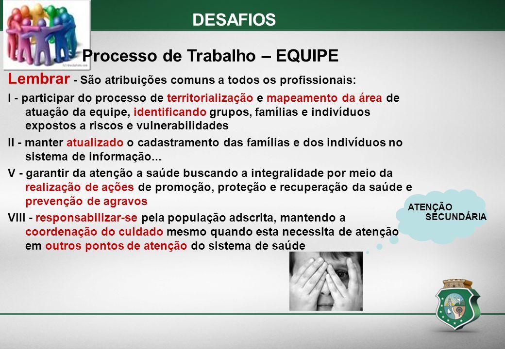DESAFIOS Processo de Trabalho – EQUIPE Lembrar - São atribuições comuns a todos os profissionais: I - participar do processo de territorialização e ma