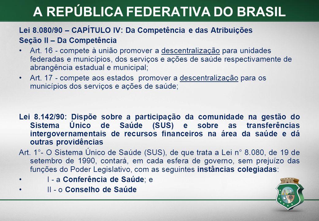 A REPÚBLICA FEDERATIVA DO BRASIL Lei 8.080/90 – CAPÍTULO IV: Da Competência e das Atribuições Seção II – Da Competência Art. 16 - compete à união prom
