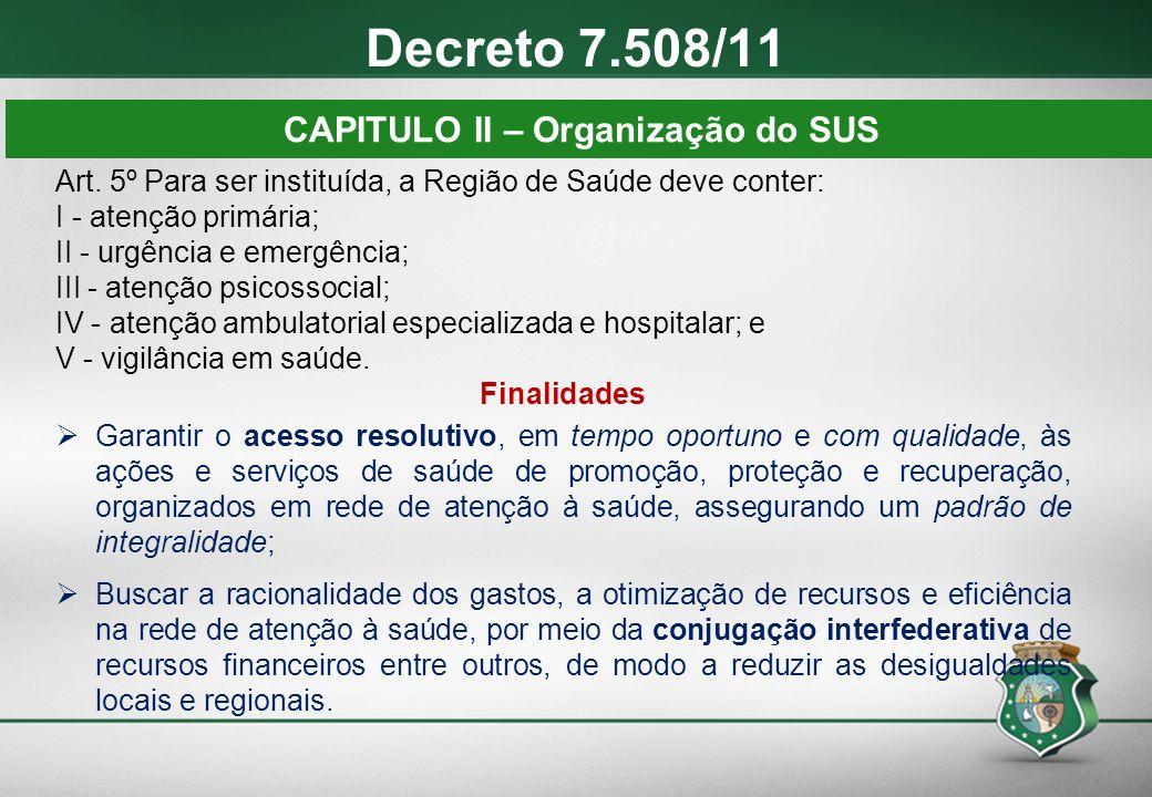 Art. 5º Para ser instituída, a Região de Saúde deve conter: I - atenção primária; II - urgência e emergência; III - atenção psicossocial; IV - atenção