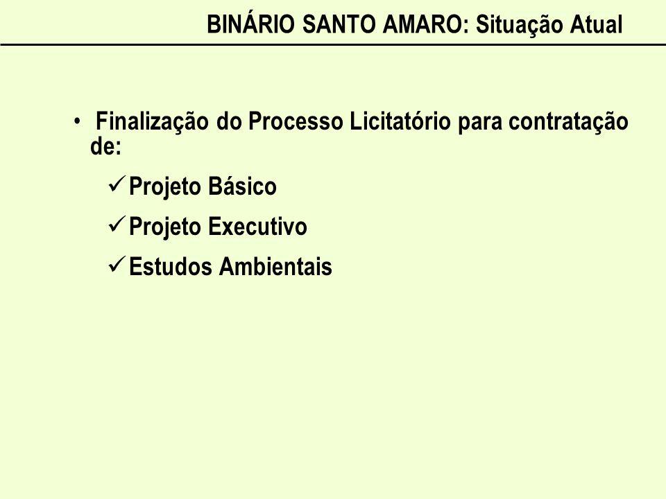 BINÁRIO SANTO AMARO: Situação Atual Finalização do Processo Licitatório para contratação de: Projeto Básico Projeto Executivo Estudos Ambientais