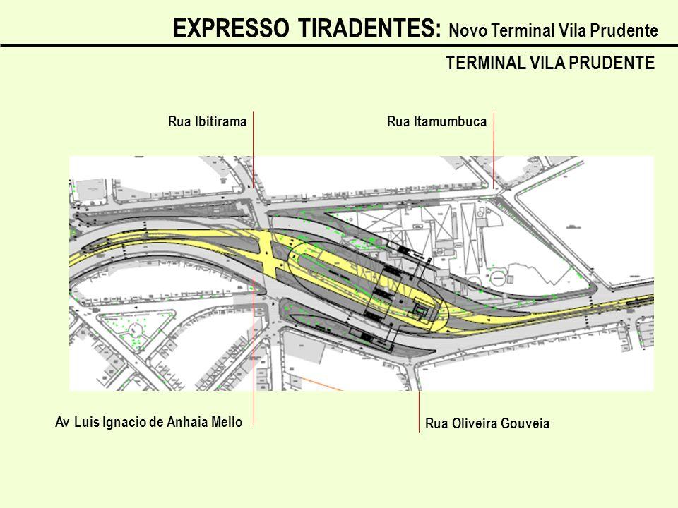 Av Luis Ignacio de Anhaia Mello Rua Ibitirama Rua Itamumbuca Rua Oliveira Gouveia TERMINAL VILA PRUDENTE EXPRESSO TIRADENTES: Novo Terminal Vila Prude