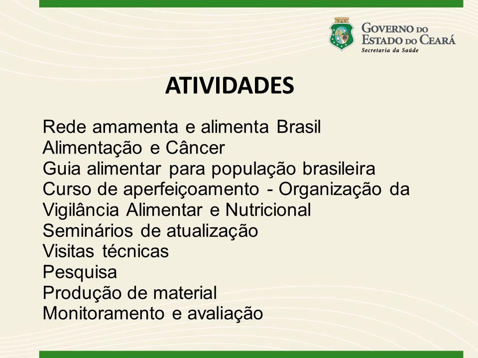 ATIVIDADES Rede amamenta e alimenta Brasil Alimentação e Câncer Guia alimentar para população brasileira Curso de aperfeiçoamento - Organização da Vig