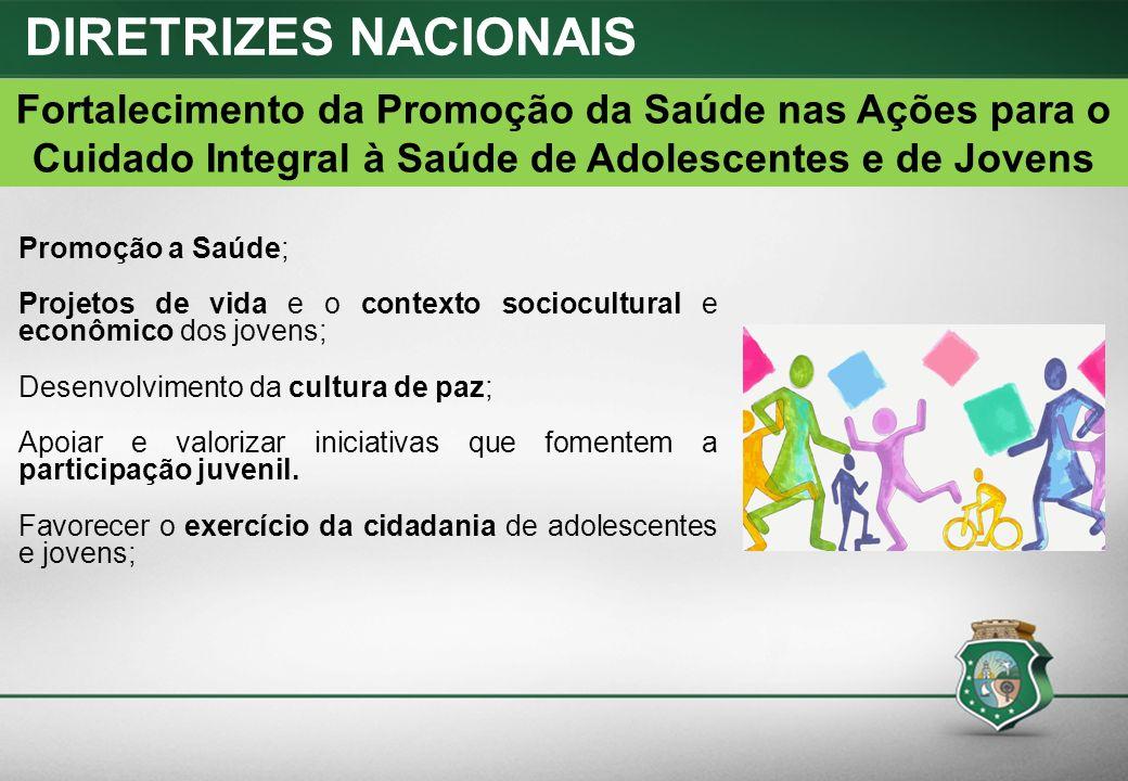 Promoção a Saúde; Projetos de vida e o contexto sociocultural e econômico dos jovens; Desenvolvimento da cultura de paz; Apoiar e valorizar iniciativas que fomentem a participação juvenil.