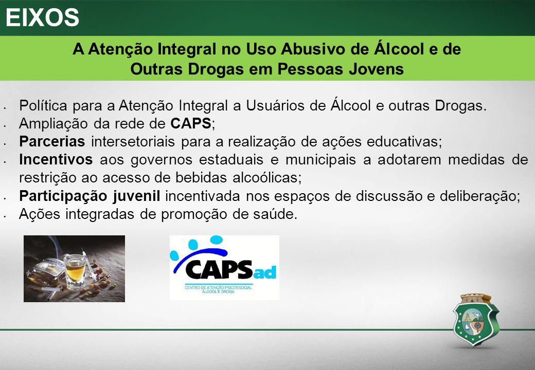 Política para a Atenção Integral a Usuários de Álcool e outras Drogas. Ampliação da rede de CAPS; Parcerias intersetoriais para a realização de ações