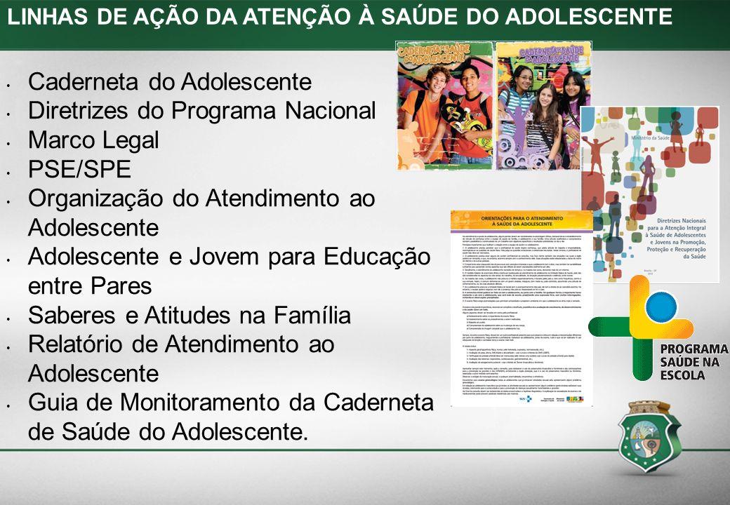 LINHAS DE AÇÃO DA ATENÇÃO À SAÚDE DO ADOLESCENTE Caderneta do Adolescente Diretrizes do Programa Nacional Marco Legal PSE/SPE Organização do Atendimen