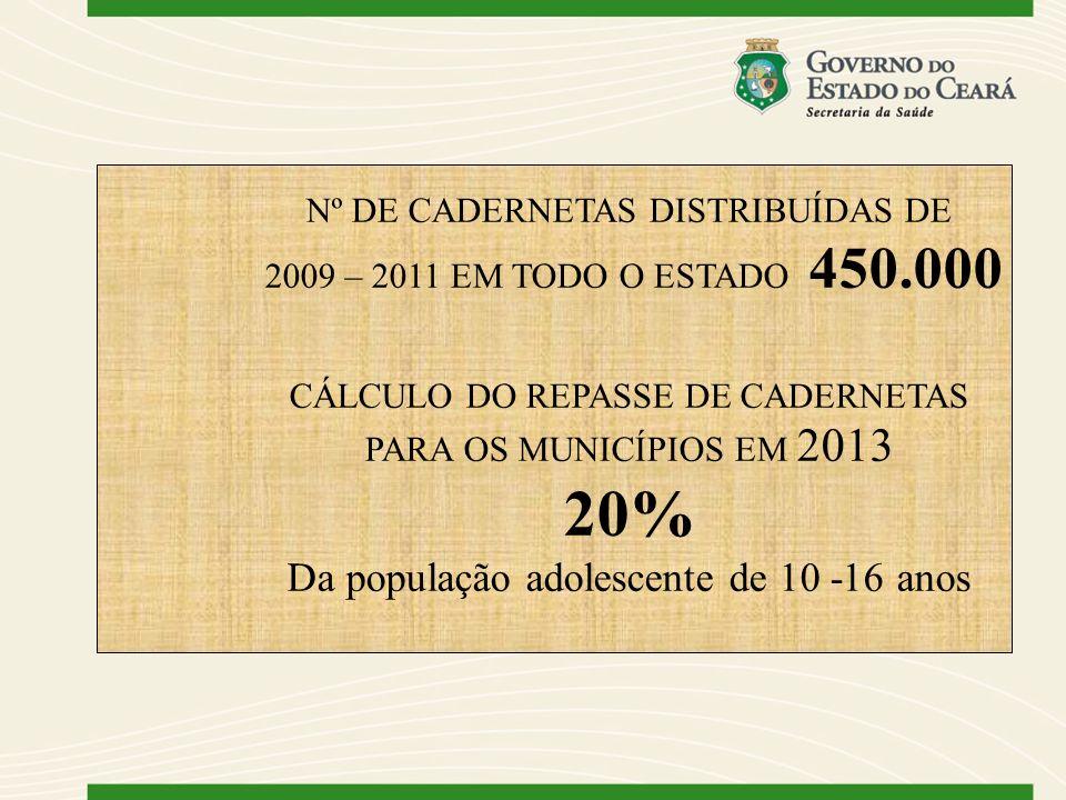 Nº DE CADERNETAS DISTRIBUÍDAS DE 2009 – 2011 EM TODO O ESTADO 450.000 CÁLCULO DO REPASSE DE CADERNETAS PARA OS MUNICÍPIOS EM 2013 20% Da população ado