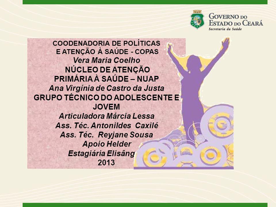 COODENADORIA DE POLÍTICAS E ATENÇÃO À SAÚDE - COPAS Vera Maria Coelho NÚCLEO DE ATENÇÃO PRIMÁRIA À SAÚDE – NUAP Ana Virgínia de Castro da Justa GRUPO