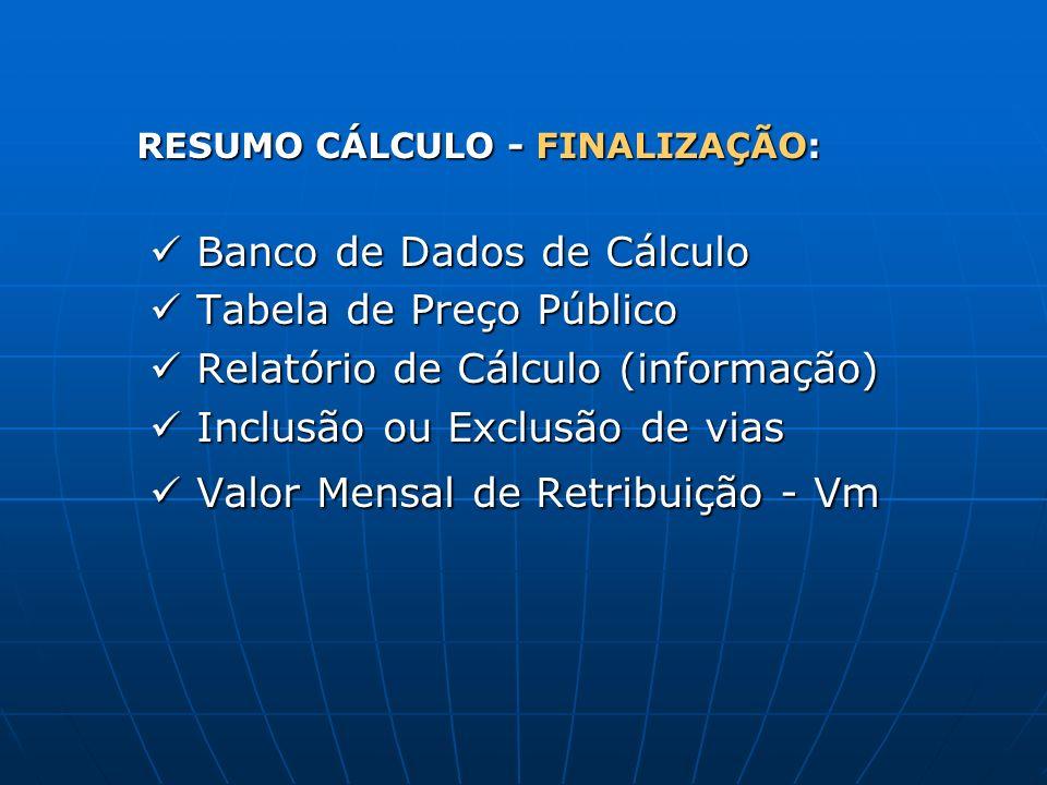 RESUMO CÁLCULO - FINALIZAÇÃO: Banco de Dados de Cálculo Banco de Dados de Cálculo Tabela de Preço Público Tabela de Preço Público Relatório de Cálculo