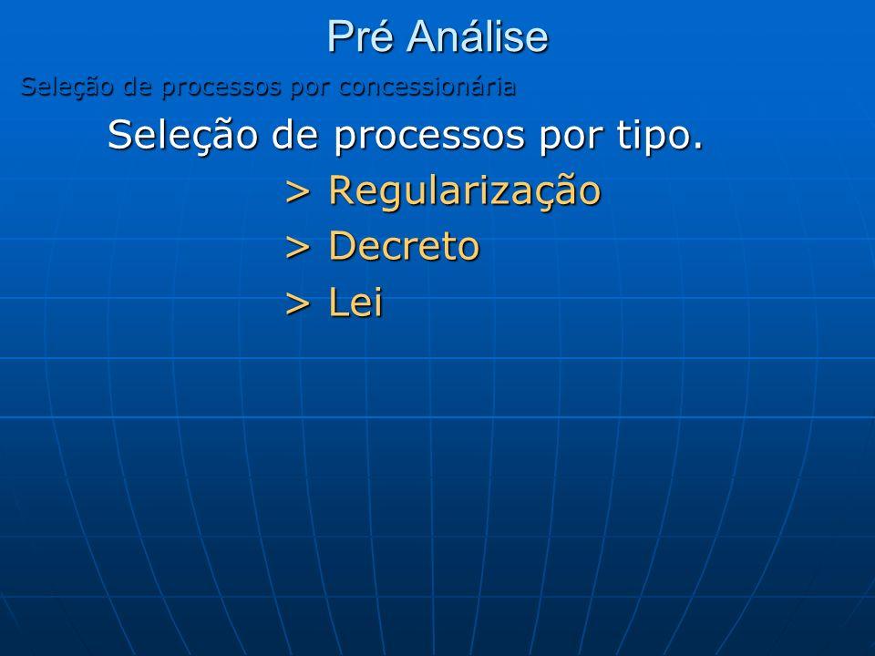 Pré Análise Seleção de processos por concessionária Seleção de processos por tipo. > Regularização > Decreto > Lei