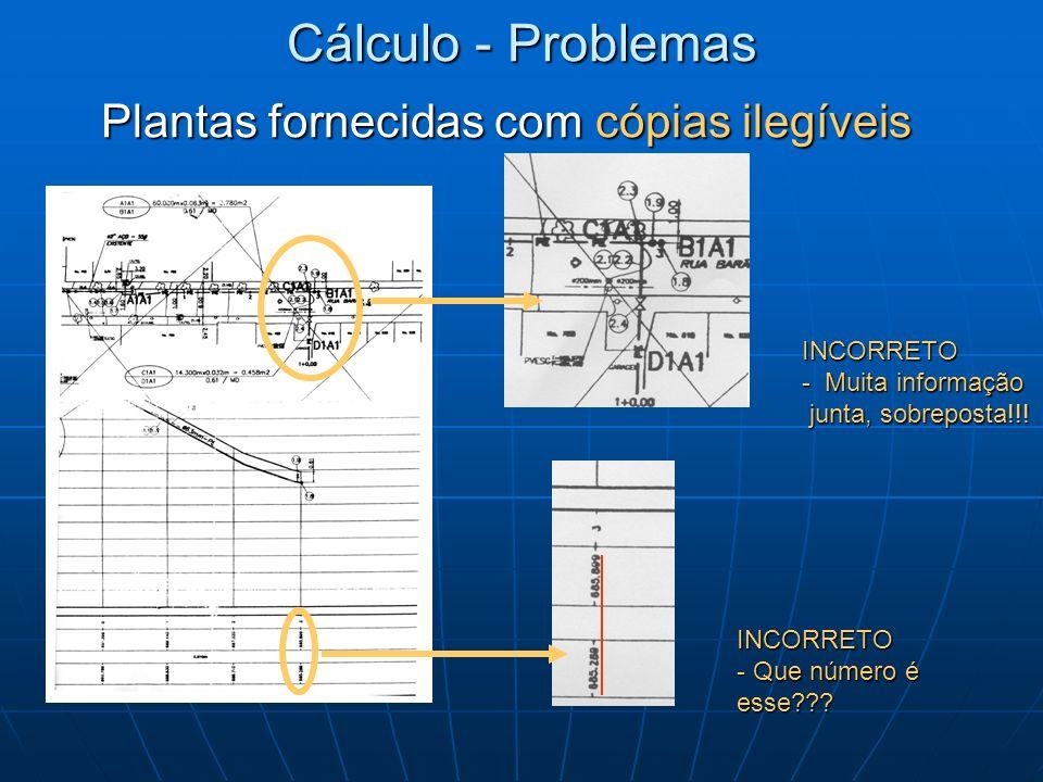 INCORRETO - Muita informação junta, sobreposta!!! Cálculo - Problemas Plantas fornecidas com cópias ilegíveis INCORRETO - Que número é esse???