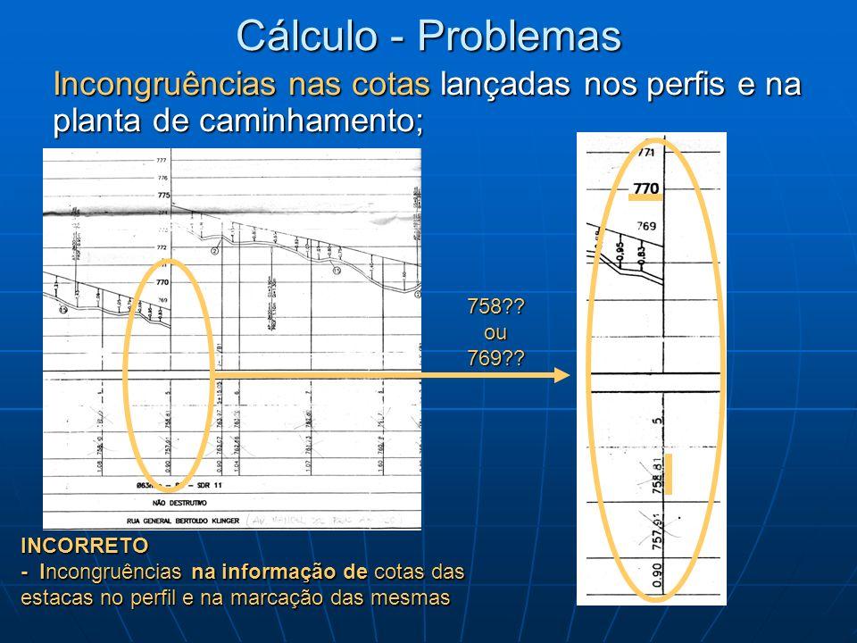 INCORRETO - Incongruências na informação de cotas das estacas no perfil e na marcação das mesmas Cálculo - Problemas Incongruências nas cotas lançadas