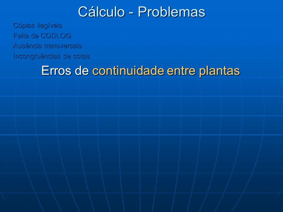 Cálculo - Problemas Cópias ilegíveis Falta de CODLOG Ausência transversais Incongruências de cotas Erros de continuidade entre plantas