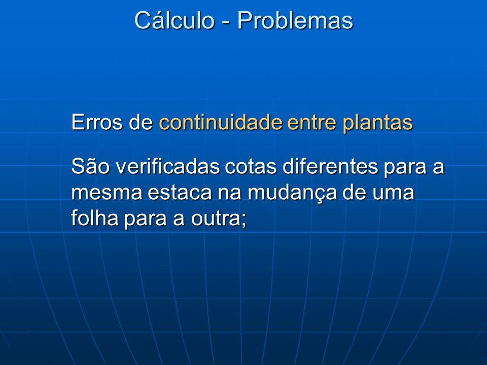 Cálculo - Problemas Erros de continuidade entre plantas São verificadas cotas diferentes para a mesma estaca na mudança de uma folha para a outra;