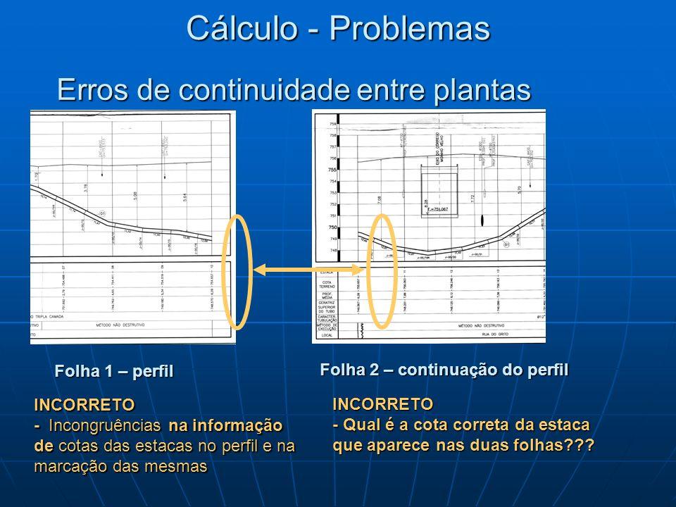 Erros de continuidade entre plantas INCORRETO - Incongruências na informação de cotas das estacas no perfil e na marcação das mesmas Folha 1 – perfil