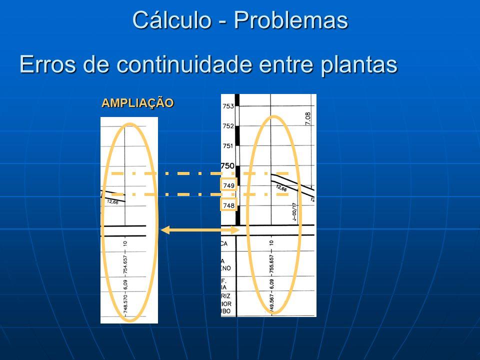 Erros de continuidade entre plantas Cálculo - Problemas AMPLIAÇÃO