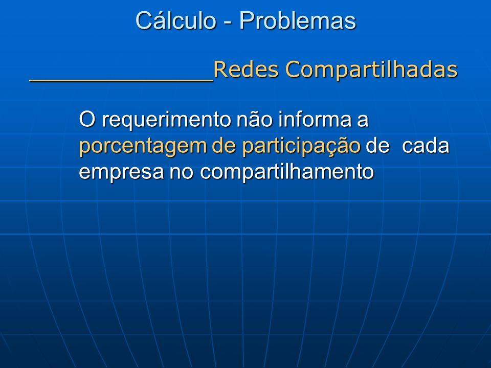 Cálculo - Problemas _______________ Redes Compartilhadas O requerimento não informa a porcentagem de participação de cada empresa no compartilhamento