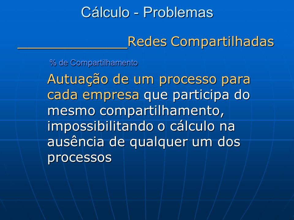 Cálculo - Problemas _______________ Redes Compartilhadas % de Compartilhamento % de Compartilhamento Autuação de um processo para cada empresa que par