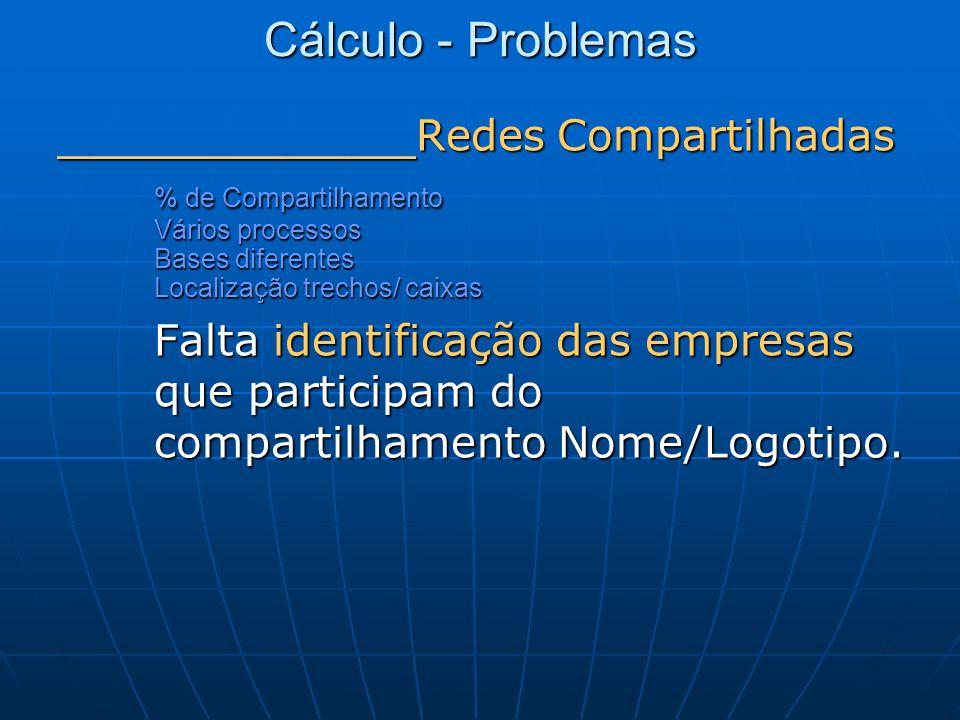 Cálculo - Problemas _______________ Redes Compartilhadas % de Compartilhamento Vários processos Bases diferentes Localização trechos/ caixas Falta ide