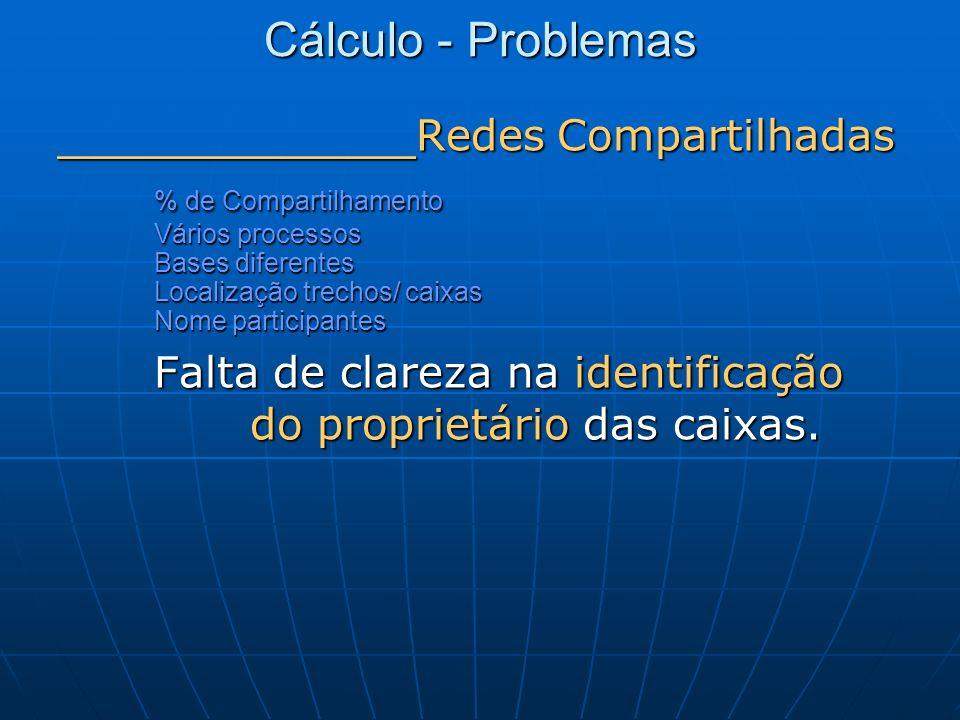 Cálculo - Problemas _______________ Redes Compartilhadas % de Compartilhamento Vários processos Bases diferentes Localização trechos/ caixas Nome part