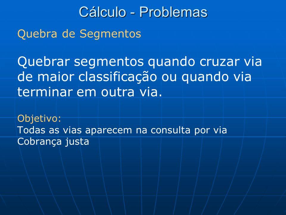 Cálculo - Problemas Quebra de Segmentos Quebrar segmentos quando cruzar via de maior classificação ou quando via terminar em outra via. Objetivo: Toda