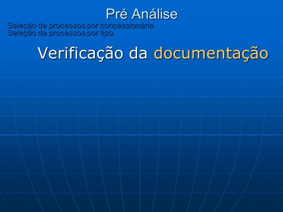 Pré Análise Seleção de processos por concessionária Seleção de processos por tipo. Pré Análise Seleção de processos por concessionária Seleção de proc