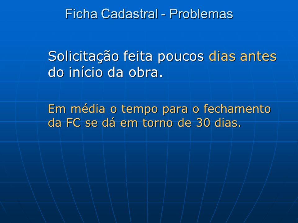 Ficha Cadastral - Problemas Solicitação feita poucos dias antes do início da obra. Em média o tempo para o fechamento da FC se dá em torno de 30 dias.