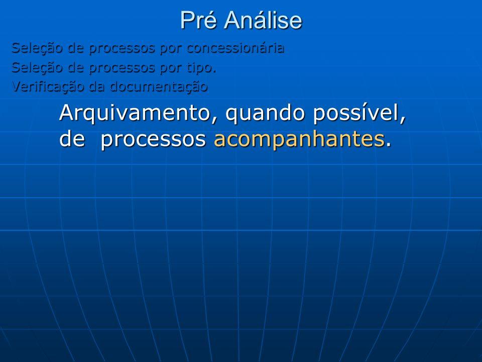 Seleção de processos por concessionária Seleção de processos por tipo. Verificação da documentação Arquivamento, quando possível, de processos acompan